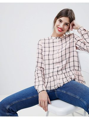 Esprit collarless check blouse with ruffle hem