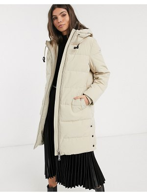 Esprit padded midi coat with hood in beige