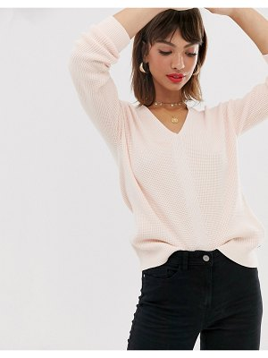 Esprit waffle sweater in crew neck sweater in beige