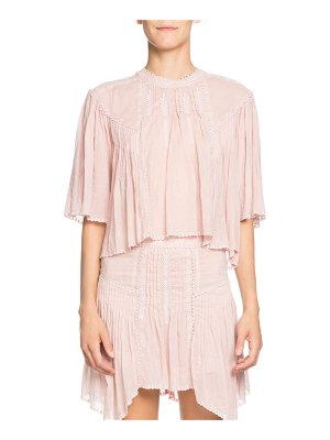 Etoile Isabel Marant Algar Embroidered Flowy Short-Sleeve Top