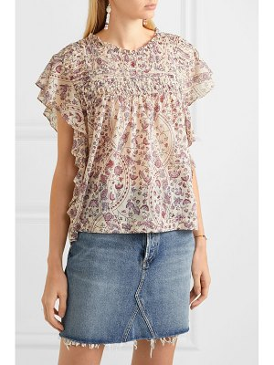 Etoile Isabel Marant layona ruffled pintucked floral-print cotton-voile blouse