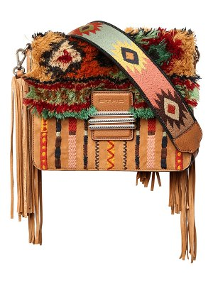 ETRO Embroidered suede & plush shoulder bag