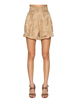 ETRO High waist jacquard linen & silk shorts