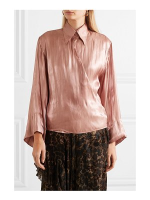 ETRO metallic crinkled-crepe de chine wrap top