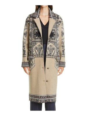 ETRO print wool three-quarter coat