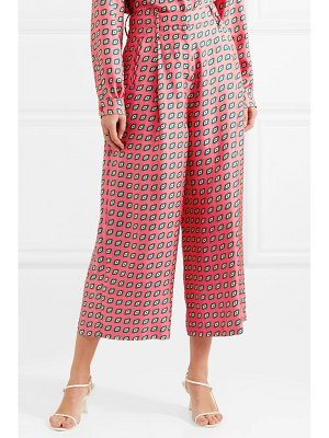 ETRO printed cropped silk-twill wide-leg pants