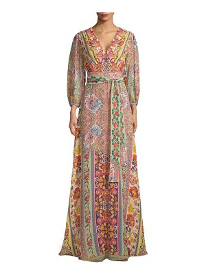 ETRO ribbon floral sequence gown