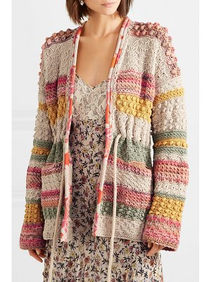 ETRO silk georgette-trimmed striped cotton and linen-blend cardigan