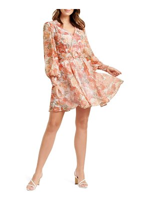 EVER NEW coral sunrise floral print long sleeve minidress