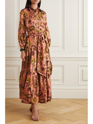 Evi Grintela greatness belted lace-trimmed tiered floral-print silk-twill maxi shirt dress