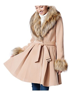 Fabulous Furs Fashion Flair Pleated Coat w/ Faux Fur