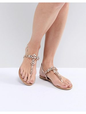 Faith Jile Rose Gold Embellished Flat Sandals