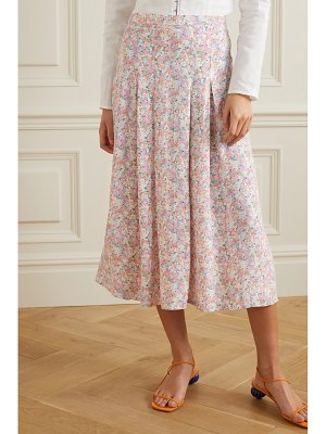 Faithfull The Brand cuesta pleated floral-print crepe midi skirt