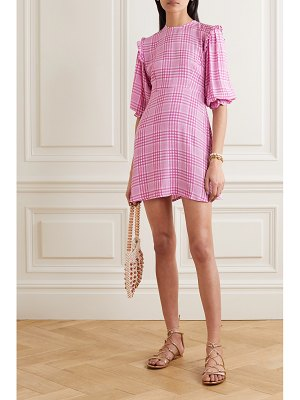 Faithfull The Brand edwina ruffled checked crepe mini dress