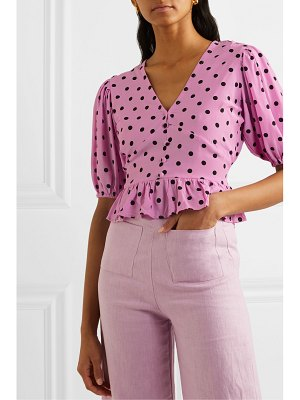 Faithfull The Brand mona ruffled polka-dot crepe top