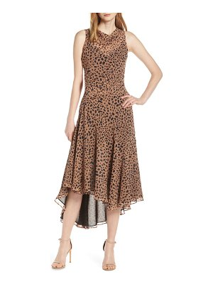 Fame and Partners animal print asymmetrical cocktail dress
