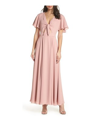 Fame and Partners tie front georgette dress