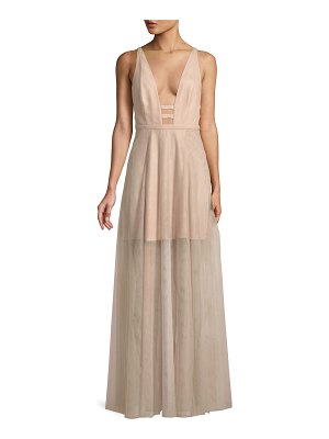 Fame and Partners The Duff Long Formal Dress Gown w/ Tulle Skirt & Cutouts