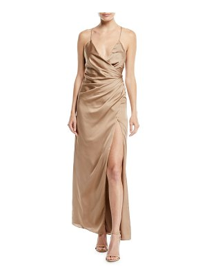 Fame and Partners The Zarita Sleeveless V-Neck Draped Matte Stretch Satin Gown Dress