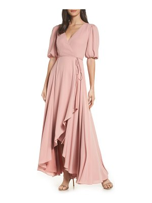 Fame and Partners v-neck georgette wrap gown