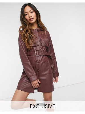 Fashion Union 70s faux leather belted mini shirt dress with fringe-brown