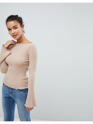 FASHION UNION 90s Ribbed Sweater With Flared Sleeves