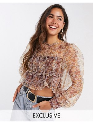 Fashion Union blouse with smocking and puff sleeves in floral organza-beige