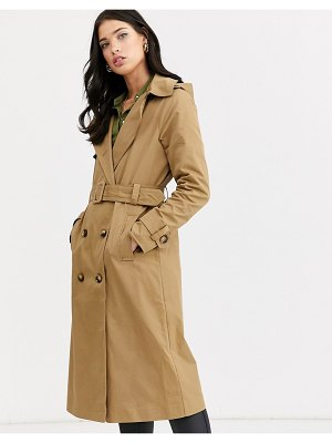 Fashion Union double breasted hooded trench coat with check lining-beige