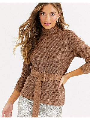 Fashion Union high neck fitted sweater with waist belt-brown