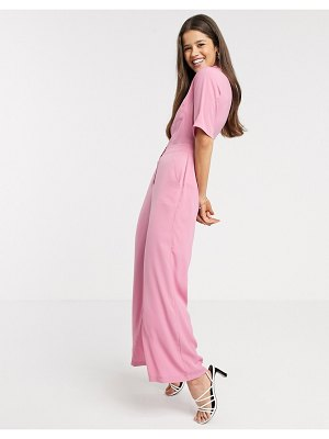 Fashion Union jumpsuit with button front-pink