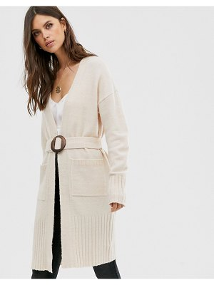Fashion Union longline belted cardigan-cream