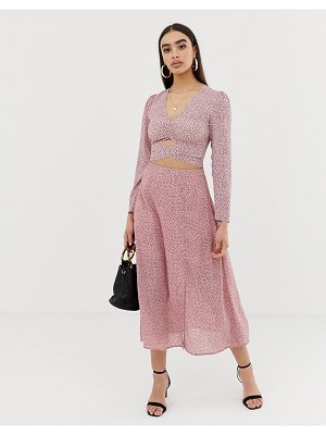 Fashion Union midi skirt in spot-pink