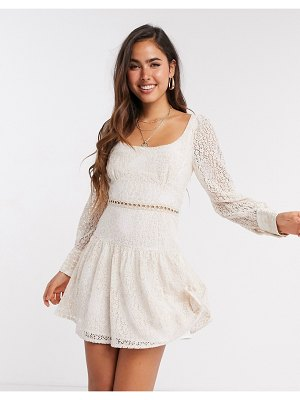 Fashion Union mini dress in blush lace-cream