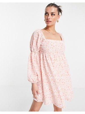 Fashion Union mini volume smock dress with puff sleeves in pink floral