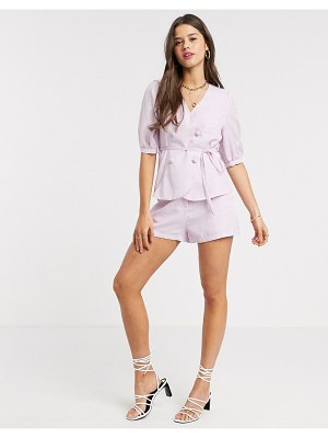 Fashion Union mom shorts in check two-piece-pink