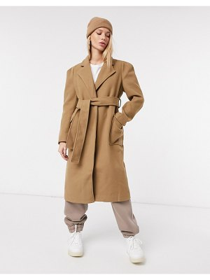 Fashion Union relaxed fit wrap coat with belt-beige