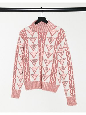 Fashion Union relaxed sweater in triangle knit-cream