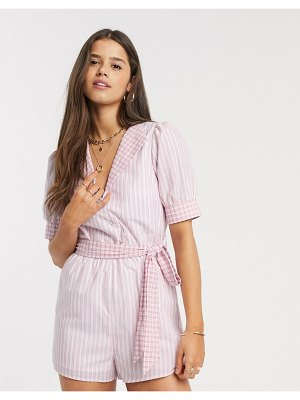 Fashion Union romper in gingham with tie waist-pink