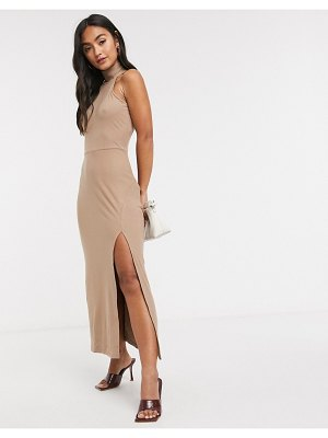 Fashion Union sleeveless midi dress with roll neck and split-brown
