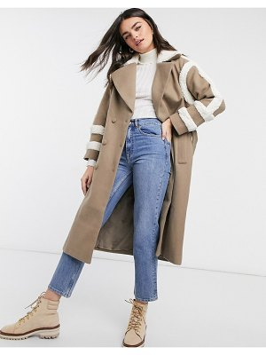 Fashion Union trench coat with shearling details-brown