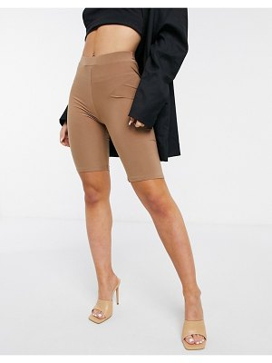 Fashionkilla bodycon short with ruched bum detail in camel-beige