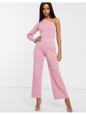 Fashionkilla knitted flare pants two-piece in blush pink