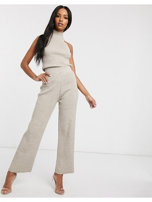 Fashionkilla knitted flare pants two-piece in oatmeal-cream