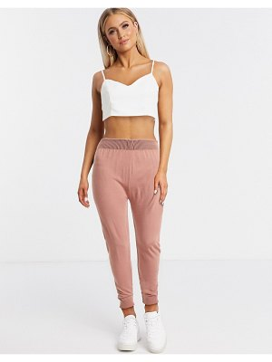 Fashionkilla knitted rib jogger in pink