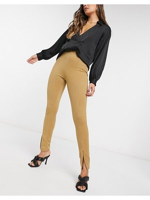 Fashionkilla split front slim pants in camel-beige