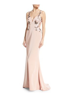 FAVIANA Faille Satin V-Neck Lace Applliqué Dress