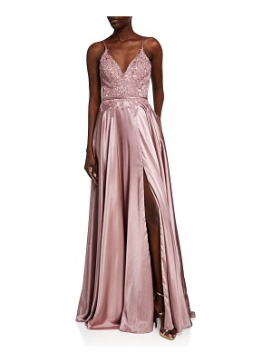 Faviana V-Neck Applique Top Charmeuse Gown w/ Lace-Up Back