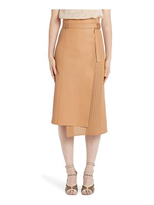 Fendi asymmetrical perforated leather wrap skirt