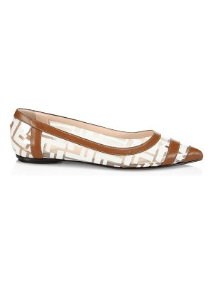 Fendi leather-trimmed plastic flats