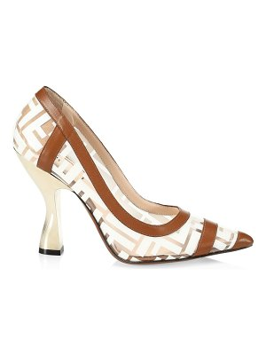 Fendi leather-trimmed transparent pumps